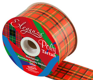Red Tartan  Florist ribbon 5cm X 50m Full Roll.  Wedding car, Party, Christmas