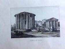 TEMPIO DI VESTA ROMA Souvenirs  régiment ZUAVI PONTIFICI acquaforte XIX secolo