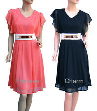 Retro Cocktail Evening Dress Coral Black Sleeve + Belt Size 10 12 14 16 18 20 22