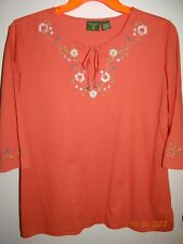 MOUNTAIN LAKE Sz L Trendy 3/4 Sleeve Blouse with Embroidery Tunic FREE SHIPPING