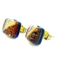 Murano Glass Earrings Orange Gold Blue Handmade Authentic Venetian Stud Square