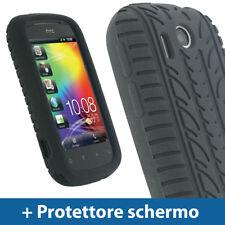 Nero Custodia Pneumatico per HTC Explorer A310e Silicone Skin Case Protezione