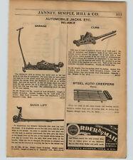 1934 PAPER AD Reliable Garage Floor Car Auto Jack Curb Quick Lift Blackhawk