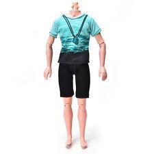 Green T-Shirt Suit for Ken Doll Barbie Cloth Black Short Pants Fashion Doll UK