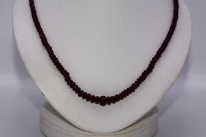 $1,100 89.00CT NATURAL RONDELLE CUT DEEP RED RUBY GRADUATED NECKLACE SILVER