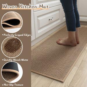 Non Slip Linen Duty Rubber Barrier Mat Hallway Runner Kitchen Rugs Rubber