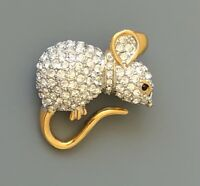 Adorable Vintage  Mouse  Brooch pin gold tone metal with crystals
