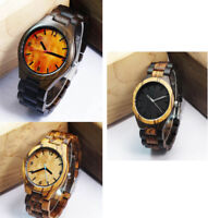Ebony Wood / Zebra Wood Watchcase Men's Electronic Quartz Watch Wooden Strap ZH