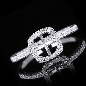 14K White Gold Diamond Semi Mount Engagement Setting Square 5.5X5.5Mm Ring Sz 9