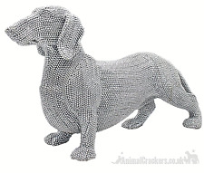 More details for x large 41cm silver glitter diamante dachshund ornament sausage dog lover gift