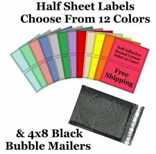 4x8 Black Poly Bubble Mailers + 8.5x5.5 Half Sheet Self Adhesive Shipping Labels