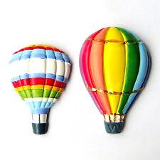 2 Hot Air Balloon Colorful Rainbow Stripe 3D Resin Fridge Magnet Fun Decor Gift