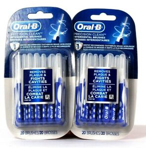 2 Packs Oral-B Precision Clean 20 Count Interdental Brushes Removes Plaque