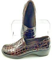 Clarks Bendables May Poppy Loafer Women's 7 M Brown Croc Skin Print Slip On Shoe