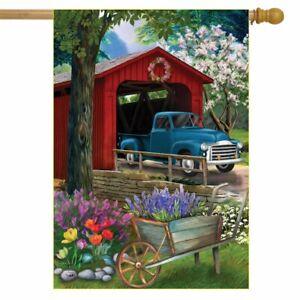 "Bridge in Blooms Spring House Flag Floral Pickup Truck 28"" x 40"" Briarwood Lane"