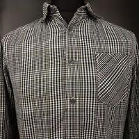Ben Sherman Mens Shirt SMALL Long Sleeve Grey Slim Check Cotton