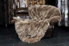 5750 Canadian Coyote Real Fur Throw brown beige Genuine Fur Blanket Real Fur