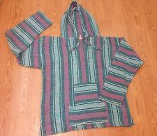 Unisex XL Baja boho beach Mexican Blanket style Hoodie Pullover Blue Pink