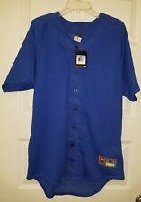 New Nike Men's Medium Full Button Baseball Jersey Royal Blue Msrp $40