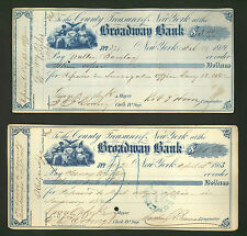 two 1860s checks Signed New York mayor George Opdyke, clerks, comptrollers, etc.