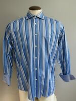 Bugatchi Uomo Blue Striped Mens Classic Fit Long Sleeve Button Down Shirt XLarge
