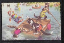 Anthropomorphic Cat Riot in a Swimming Lagoon Alfred Mainzer Printed in Belgium