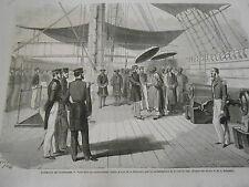 Gravure 1863 Cochinchine Visite au Contre Amiral Jaurès