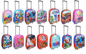 NEW Designs Boys Girls Character Wheeled Trolley Suitcase & Hand Luggage Bag
