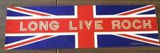 LONG LIVE ROCK UK FLAG BUMPER STICKER 1984 COLLECTOR ITEM NEW RARE
