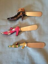 Shoes! Set Of 3 Handpainted Shoe Toppers Stainless Steel Canapes Spreaders-BNIB