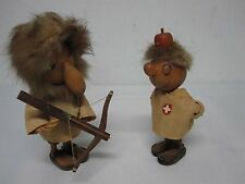Vintage Ges Gesch Swiss Rustic Design Troll Aiming Bow at Fellow w Apple On Head