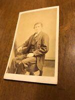 Antique Victorian Man  CDV Photo Photograph Civil  War Albany NY