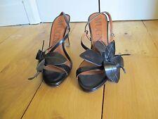 Sandales noires fleurs découpées MUGNAI 37 neuves