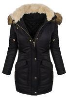 Diseño Mujer Abrigo de invierno Chaqueta Parka Largo cuello piel d-238 NUEVO