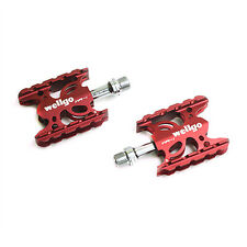 "Wellgo WR-1 MTB Mountain / Road Bike 9/16"" Aluminum Pedals Platform - Red"