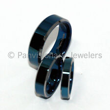 4mm Blue Polished Flat Tungsten Ring Wedding Band Bevel Edge size 5.5 Clearance