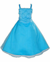 New Blue Turquoise Bridesmaid Party Flower Girl Dress 4-5 Years