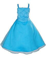 Nouveau Bleu Turquoise Demoiselle D'honneur Fête Robe De Fille Mariage 4-5 Ans