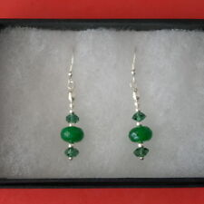 Beautiful Earrings With Emerald And Crystal 1.5 Gr.3 Cm.Long + 925 Silver Hooks