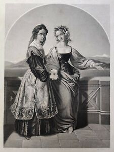 """Antique Print Engraving """" The Two Leonoras """" W. French after Carl F. Sohn 1836"""