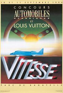 Original Vintage Affiche Razzia Vitesse Louis Vuitton Automobiles 1994
