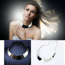 Women Trendy Silver Plated Curved Mirrored Metal Choker Collar Bib Necklace New