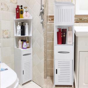 Tower Cabinet Corner Shelf Standing Cupboard Toiletries Storage Rack Bathroom UK