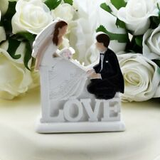 Love 2D Statuette Wedding Cake Topper Romantic Seated Bride & Groom on Word LOVE