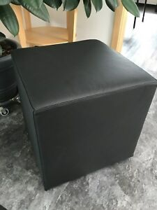 Stool Ottoman Leather Black 17 11/16x17 11/16in Cube Sitting