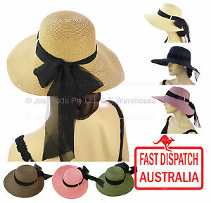Women Ladies Fashion Sun UV Protection Hat Summer Wide Brim Floppy Visor Ribbon