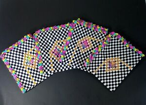 New Set Of 4 Placemats Checkered Fabric, multicolor crocheted rim, Cloth Lined