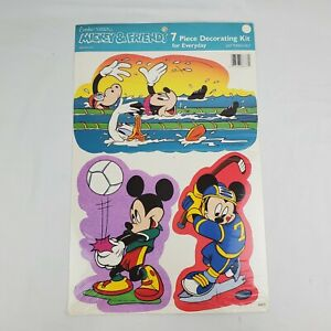 VINTAGE MICKEY & FRIENDS 7 PIECE DECORATING KIT SPORTS EUREKA ORIGINAL PACKAGE