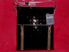 Arcadia Italian Crossbody Black + Red Accents N/S Zippers #3071 NWT Last One !