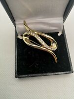Vintage Gold Plated Modernist Brooch Diamontes Simple Stylish Retro